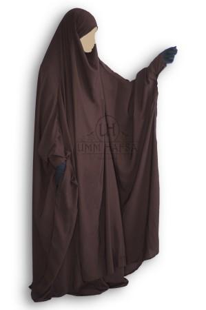 """Jilbab à ZIP """"Umm Hafsa"""" MARRON"""