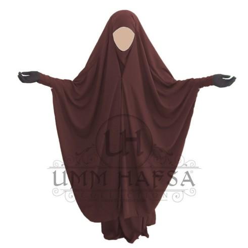 Jilbab 2 pièces à clips Umm Hafsa MARRON