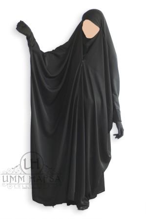 """Jilbab Saoudien """"Umm Hafsa clips TISSU NIDHA NOIR"""