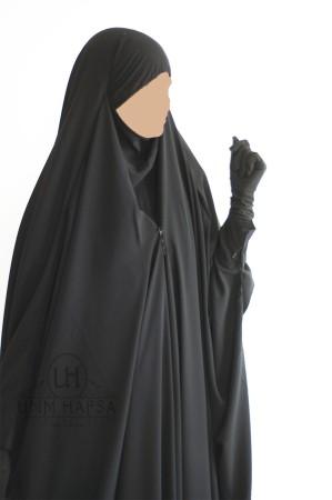 "Jilbab Saoudien NOIR CAVIARY à clips ""Umm Hafsa"""