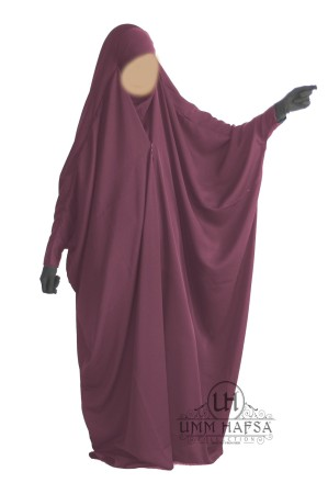 "Jilbab Saoudien PRUNE ""Umm Hafsa"" à clips CAVIARY LUXE"
