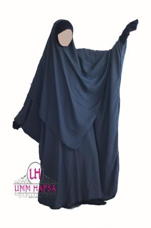 """Ensemble Lycra Abaya + Khimar-Cape NOIR """"Umm Hafsa"""""""