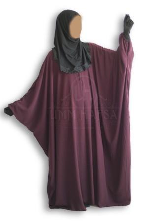 """Abaya papillon PRUNE """"Umm Hafsa"""" CAVIARY LUXE"""
