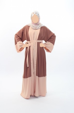 Kimono bi-color HAVANE-ROSE
