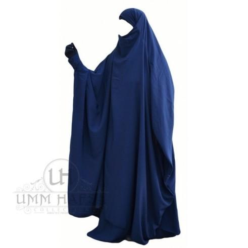 """Jilbab à ZIP """"Umm Hafsa"""" BLEU NUIT"""