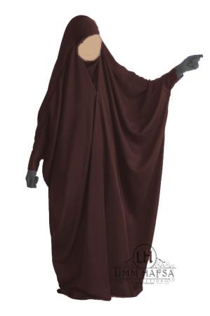 "Jilbab Saoudien  MARRON ""Umm Hafsa"" à clips CAVIARY LUXE"