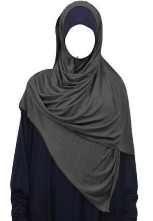 Maxi-Hijab Stretch GRIS CHINÉ FONCÉ