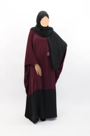 Abaya bicolore Bordeaux/Noir