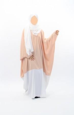 Abaya bicolore Nude/Blanc