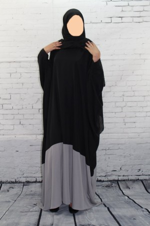 Abaya bicolore Noir/Gris
