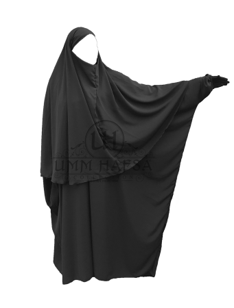 Abaya + Hijab-Cape Umm Hafsa NOIR