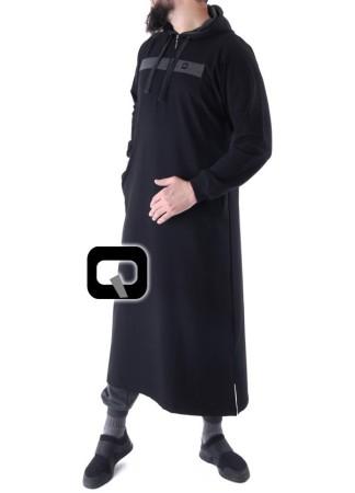 Qamis Jogging Vortex Qaba'il Noir