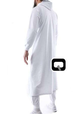 Qamis Jogging Vortex Qaba'il Blanc