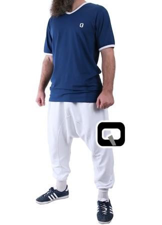 T-Shirt Long Qaba'il Manches Courtes Bleu
