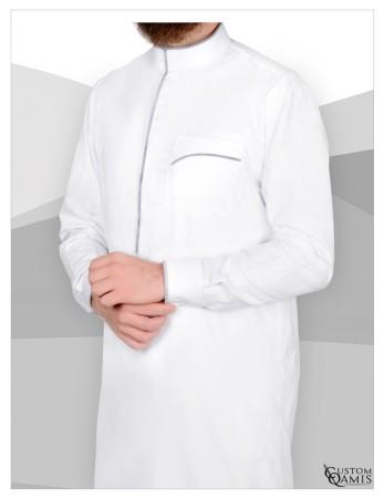 Qamis Edge Précious Custom Qamis Blanc et Gris