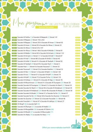 PDF Programme lecture Coran 30 jours (fichier téléchargeable)