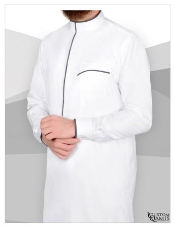 Qamis Edge Custom Qamis Blanc et Gris
