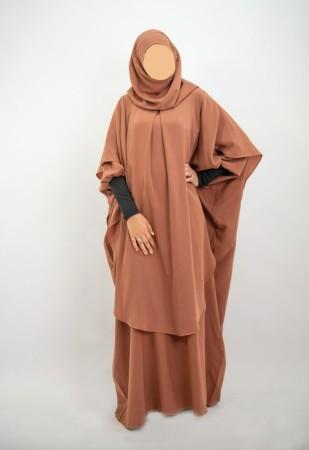 Long khimar hijab intégré NOIR