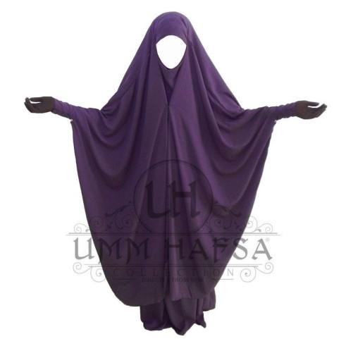 Jilbab 2 pièces à clips Umm Hafsa PRUNE