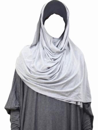 Maxi-Hijab Stretch GRIS CHINÉ