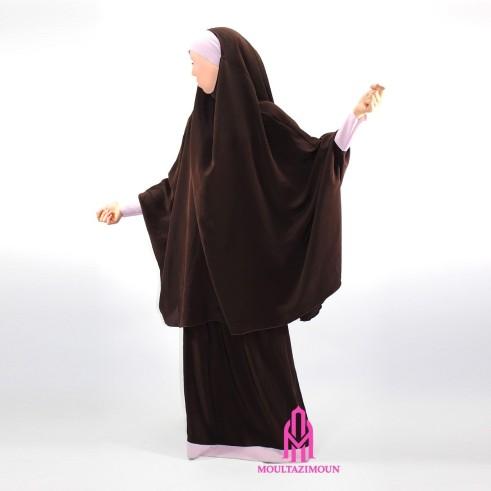Jilbab Houda Fille BORDEAU-BEIGE (1m35-1m55)