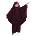 Jilbab fillette sarwel AUBERGINE