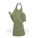 Abaya Hijab Fillette Umm Hafsa VERT AMANDE