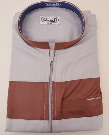 Qamis as-Safa ZIP Gris / Bordeaux