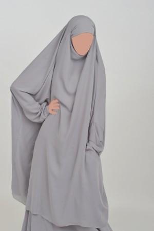 Jilbab Houda Cocoon à poche GRIS