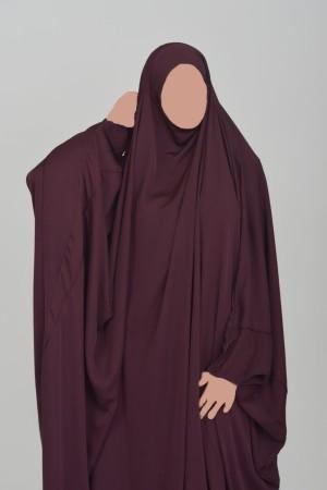 Jilbab Saoudien Nidha Tradition BORDEAU FIGUE