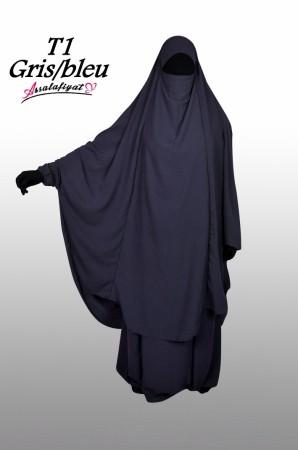 Jilbab as-Salafiyat 2 Pièces X-Tra large GRIS FONCE