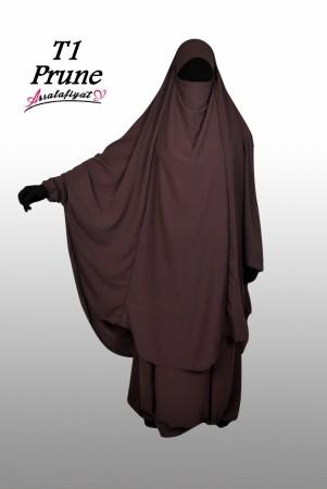 Jilbab as-Salafiyat 2 Pièces X-Tra large PRUNE